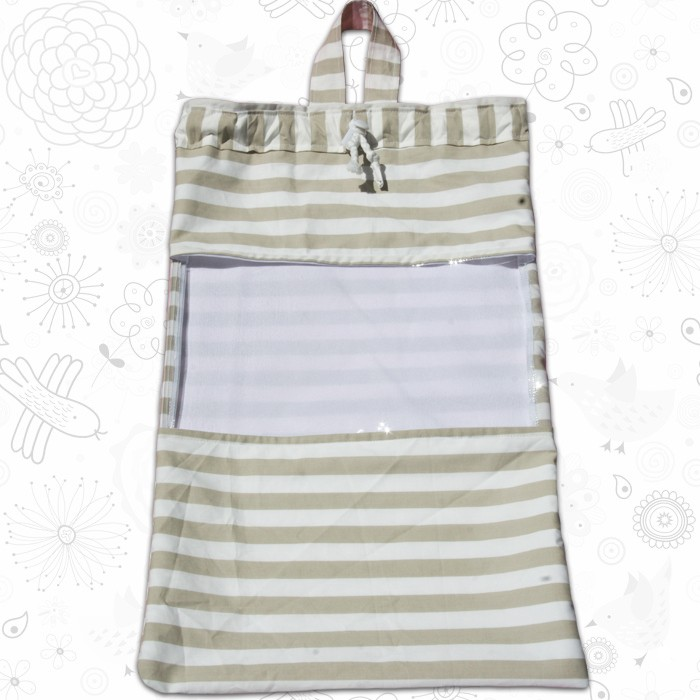 beige striped toy sack