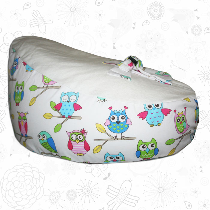 white owls baby bean bag